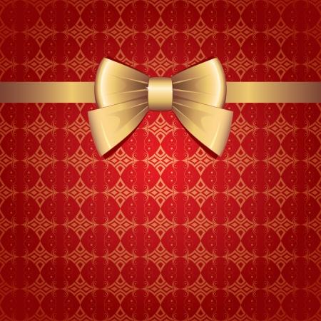 dar un regalo: arco de oro sobre fondo rojo transparente vendimia