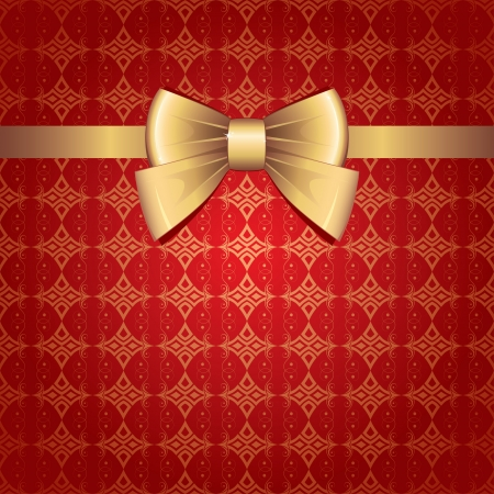 certificate bow: gold bow on red vintage seamless background Illustration