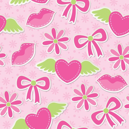 pink seamless pattern with hearts, bows and flowers Stock Vector - 12041277