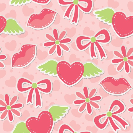 pink seamless pattern with hearts, bows and flowers Vector