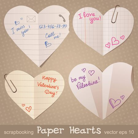 set of paper hearts, realistic illustration, vector eps 10 Vector
