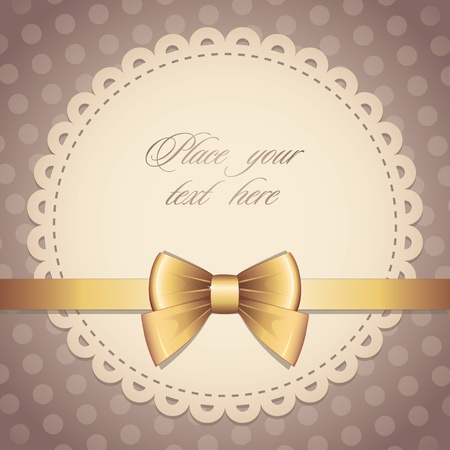 vintage frame with gold bow and brown background Vector