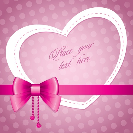 romantic frame with pink bow and violet background Stock Vector - 12041281