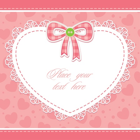 cute pink card with heart and bow, scrap-booking elements Vector