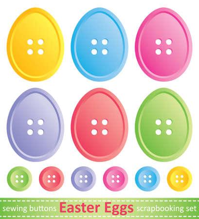 costurera: conjunto de estilizadas huevos de Pascua, los botones de coser Vectores