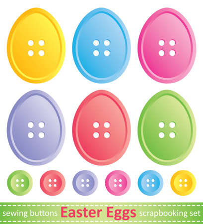 set of stylized easter eggs, sewing buttons