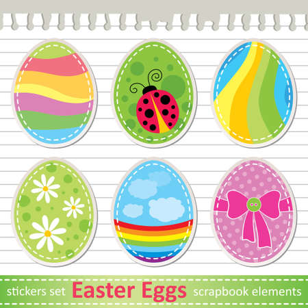 set of stylized easter eggs, paper stickers