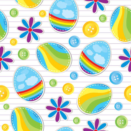 easter seamless pattern with stickers and sewing buttons Vector