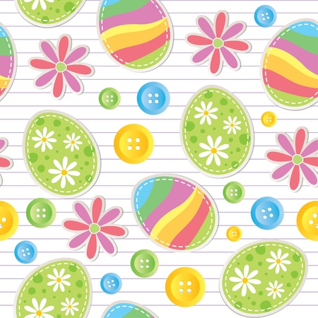 easter seamless pattern with stickers and sewing buttons Stock Vector - 12496654