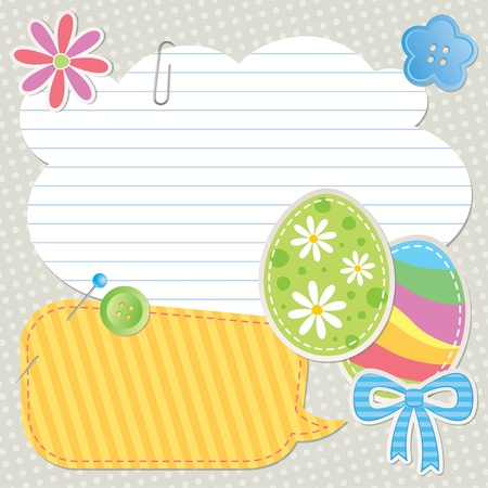 scrapbooking paper: easter greeting card with scrapbook design elements Illustration