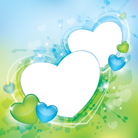 spring background with glossy hearts and transparent blots Vector
