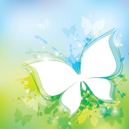 mariposa azul: la primavera de fondo con la mariposa blanca y manchas transparentes Vectores