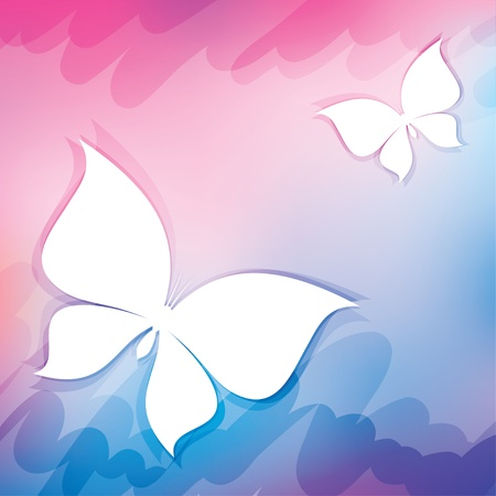 abstract background with white butterflies, vector illustration Vector