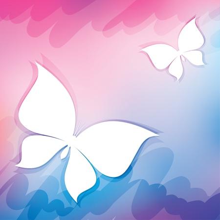 schmetterlinge blau wasserfarbe: abstrakten Hintergrund mit weißen Schmetterlingen, Vektor-Illustration Illustration