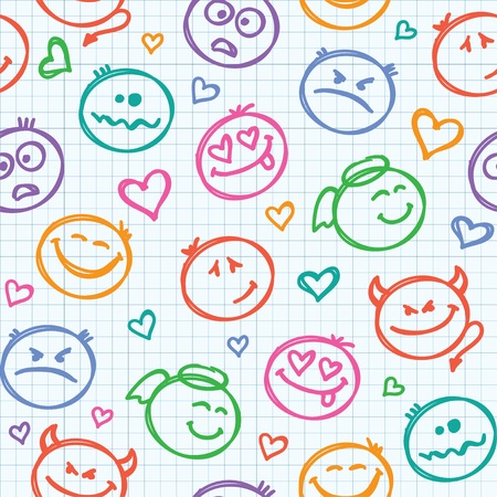 seamless pattern of hand drawn colorful smiles Vector