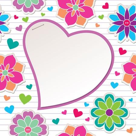 スクラップブッキング: 花と紙のハートでロマンチックなフレーム  イラスト・ベクター素材