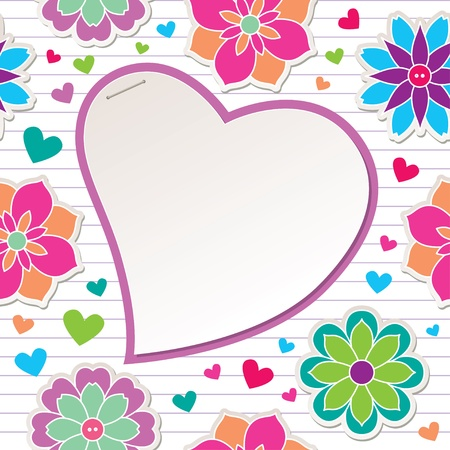 romantic frame with flowers and paper heart Vector