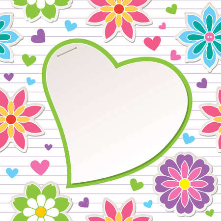 romantic frame with flowers and paper heart Stock Vector - 12832120