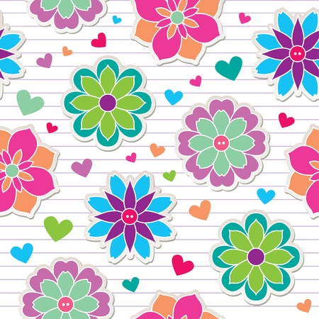 teenagers love: seamless pattern of flower stickers, vector background