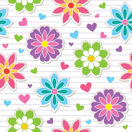 striped wallpaper: seamless pattern of flower stickers, vector background