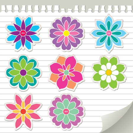 set of colorful flowers, vector stickers, eps 8 Illustration