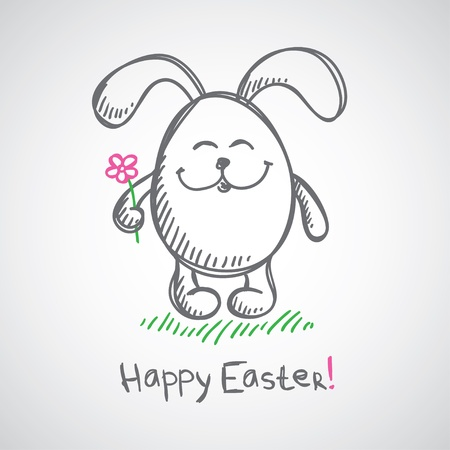 happy people white background: hand drawn illustration with gray easter bunny  Illustration