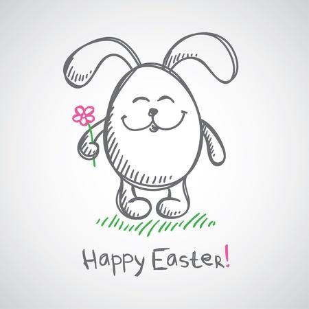 joyeuses p�ques: main illustration tir�e de gris lapin de P�ques
