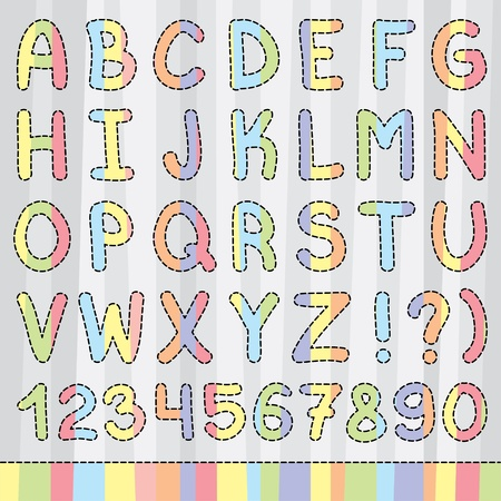 colorful alphabet with striped letters and black strokes, vector eps 10 Vector