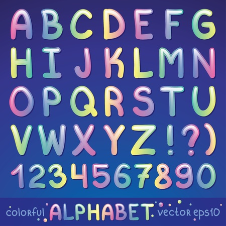 colorful glossy alphabet on blue background Vector