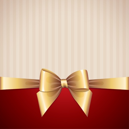 background with gold bow, vintage design Vector