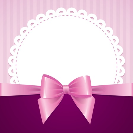 pink background with bow, vintage design