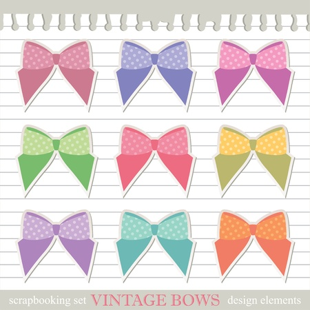set of bows, scrapbooking vintage design elements, vector Stock Vector - 12832297