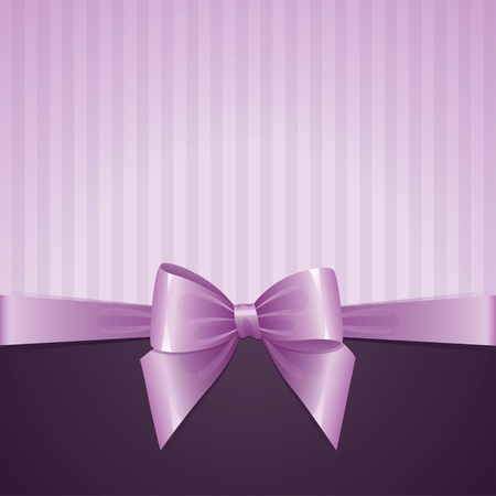 certificate bow: violet background with bow, vintage design Illustration