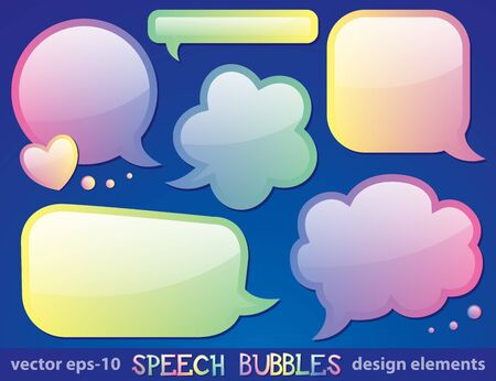 glossy speech bubbles collection, design elements, vector eps-10 Vector