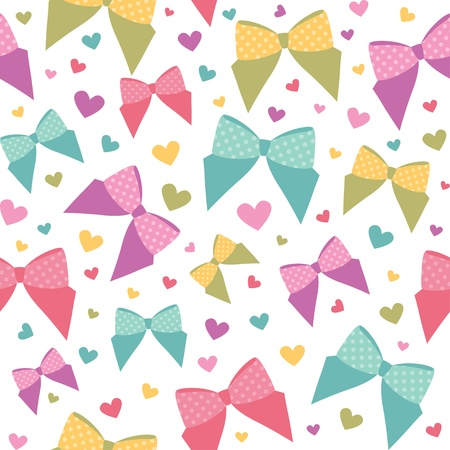 girls with bows: seamless pattern with cartoon bows, vector eps 8 Illustration