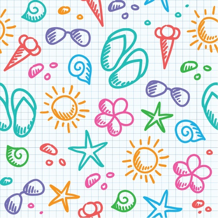 cartoon summer: hand drawn seamless pattern with summer symbols