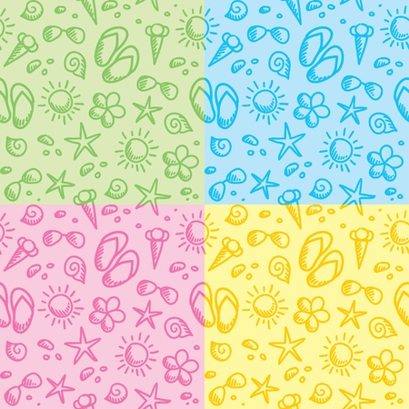 hand drawn seamless patterns with summer symbols Vector
