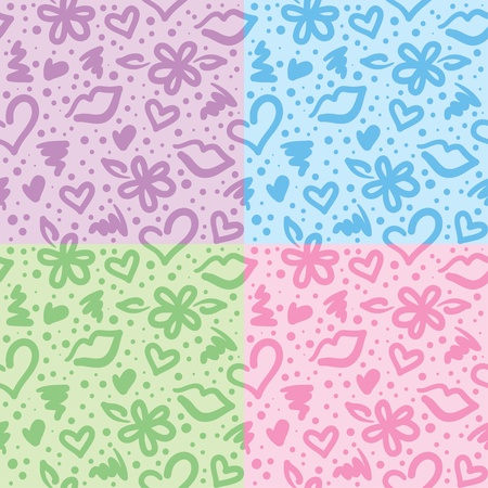 seamless patterns with hearts, flowers and kisses Vector