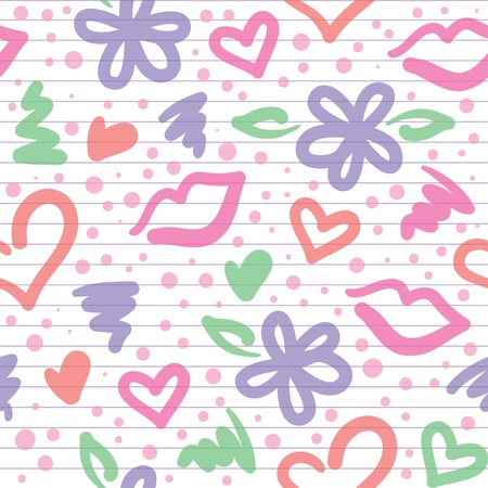 seamless pattern with hearts, flowers and kisses Vector