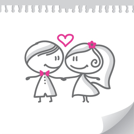 marriage cartoon: cartoon wedding couple on realistic paper page