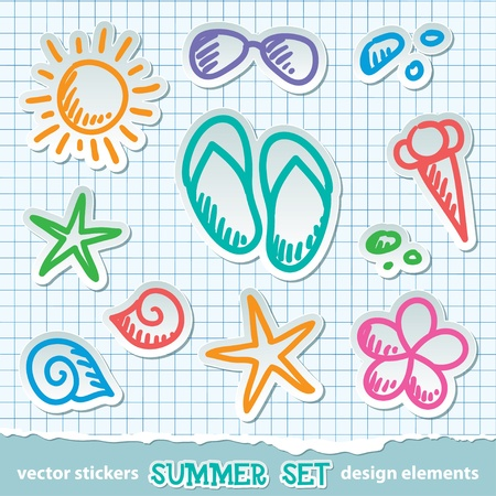 set of hand drawn summer symbols on paper Vector