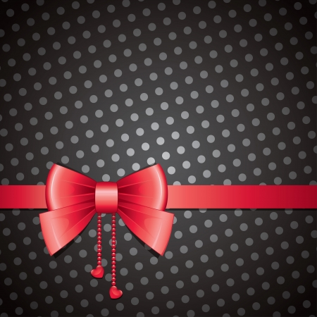 satin round: red bow on black background, old-fashioned