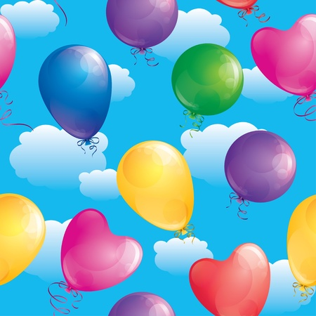 seamles pattern of realistic glossy balloons, vector Vector