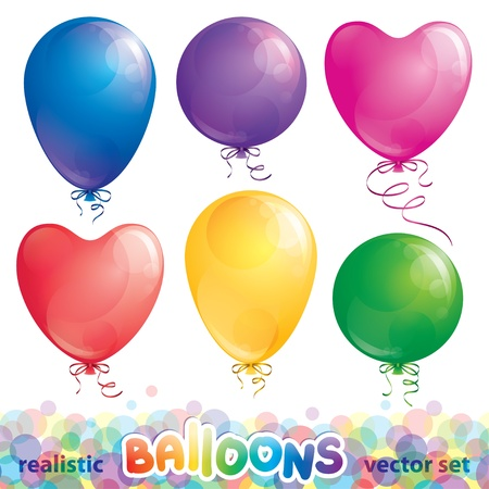 set of realistic glossy balloons, vector  Vector