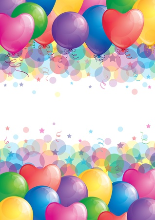 background with colorful balloons, vector Vector
