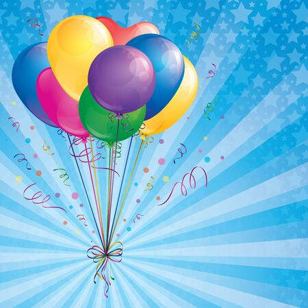 background with balloons bunch, confetti and ribbons Vector