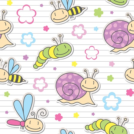 children caterpillar: seamless pattern with cute insects and snails