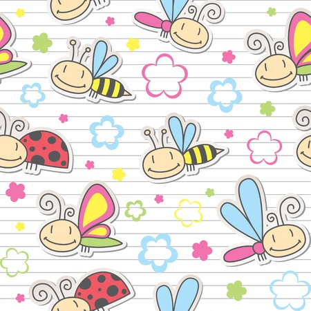 scrapbooking elements: seamless pattern with cute insects and flowers