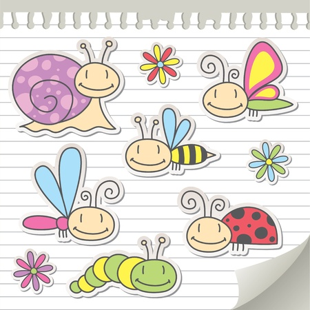 set of cartoon insects with snail and flowers Vector