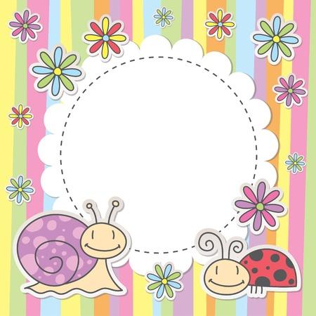 달팽이와 무당 벌레 귀여운 아이 카드 일러스트